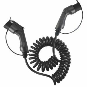 Nabíjací kábel BESEN špirálny -32A-TYPE2 pre nabíjanie elektromobilov na verejných nabíjacích staniciach . Špirálne prevedenie zabezpečí pohodu užívaniaL-32A-TYPE1